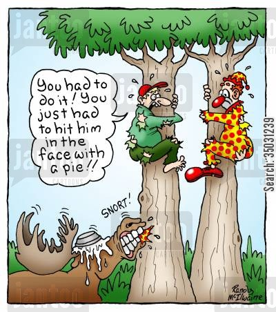 moose cartoon humor: 'You had to do it! You just had to hit him in the face with a pie!'