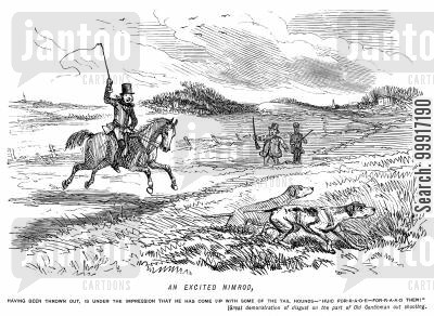 moors cartoon humor: Man who has lost the hunt mistakes a gentleman's shooting dogs for some of the hounds.