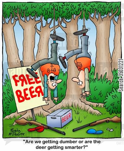 hunting trip cartoon humor: 'Are we getting dumber or are the deer getting smarter?'