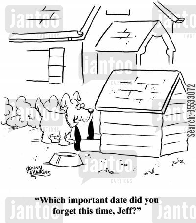 in the doghouse cartoon humor: Dog to person whose legs are sticking out of doghouse: 'Which important date did you forget this time, Jeff?'
