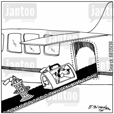 luggage compartment cartoon humor: A fire hydrant is loaded after a dog is loaded onto an airplane.