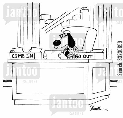 go out cartoon humor: dog-come ingo out boxes