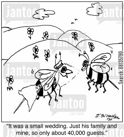 elope cartoon humor: 'It was a small wedding. Just his family and mine, so only about 40,000 guests.'