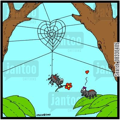 courtship cartoon humor: Spiders in Love (colour)