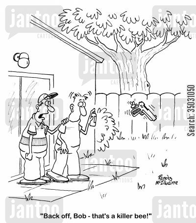 bug spray cartoon humor: 'Back off, Bob - that's a killer bee!'