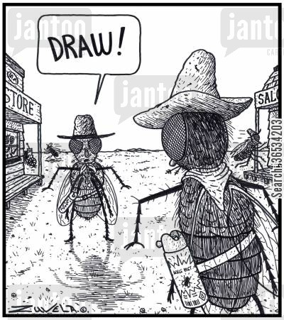 insecticide cartoon humor: Two Fly Cowboys about to fight it out using Insect spray.