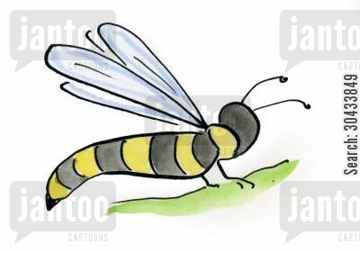 bug sprays cartoon humor: Wasp
