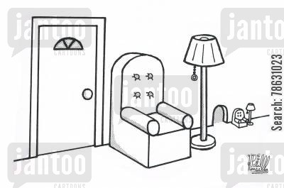 furniture cartoon humor: Normal sized door, chair and lamp next to mouse hole and proportional furniture.