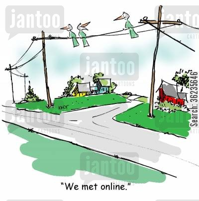 meet online cartoon humor: We met online.
