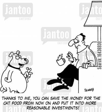 economise cartoon humor: 'Thanks to me, you can save the money for the cat food from now on and put it into more reasonable investments!'