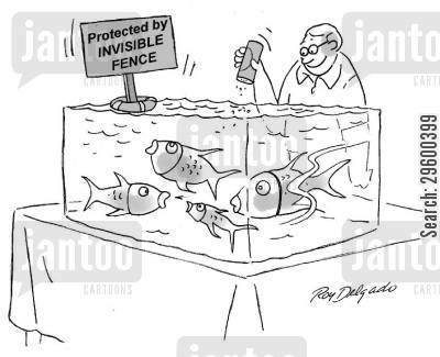 fish owner cartoon humor: Protected by invisible fence.