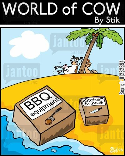 kitchen knives cartoon humor: BBQ equipment arriving on a desert island with a cow and man sunbathing.