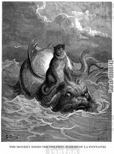 monkeys cartoon humor: The Monkey Rides the Dolphin (Fables of La Fontaine)
