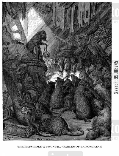 la fontaine cartoon humor: The Rats Hold a Council (Fables of La Fontaine).