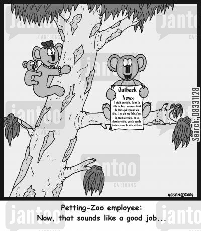 petting zoos cartoon humor: 'Petting-Zoo employee: Now, that sounds like a good job...'