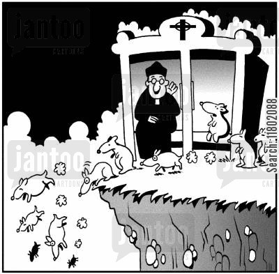 suicidal animal cartoon humor: Priest issues last rites to lemmings.