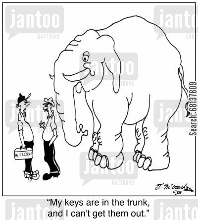 jungle animals cartoon humor: 'My keys are in the trunk, and I can't get them out.'
