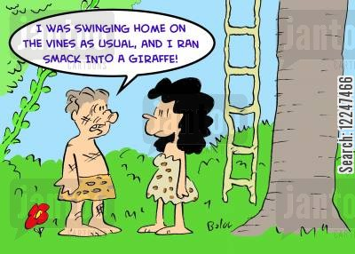 jungle vine cartoon humor: 'I was swinging home on the vines as usual, and I ran smack into a giraffe!'