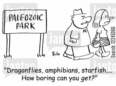 dragonfly cartoon humor: 'Dragonflies, amphibians, starfish.... How boring can you get?'