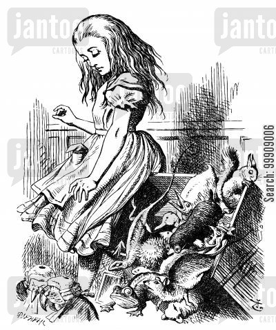 children's literature cartoon humor: Alice in Wonderland: Alice in the Jury-Box.