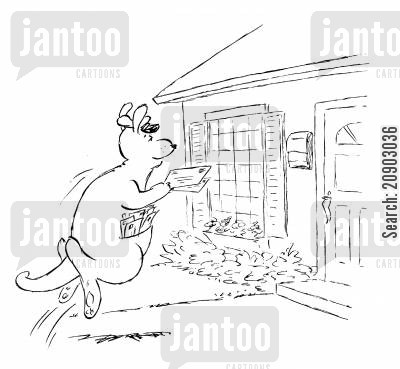 mailing cartoon humor: Knagaroo mailman.
