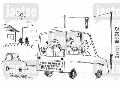 kennel club cartoon humor: Proud Parents of 'Best in Breed' City Kennel Club.
