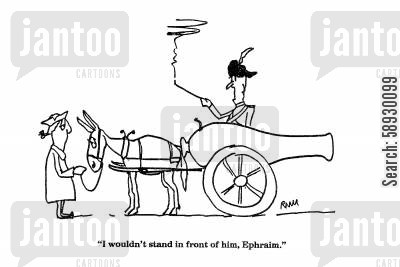 mule cartoon humor: 'I wouldn't stand in front of him, Ephraim.'