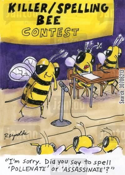 assassinating cartoon humor: 'KillerSpelling Bee Contest.'