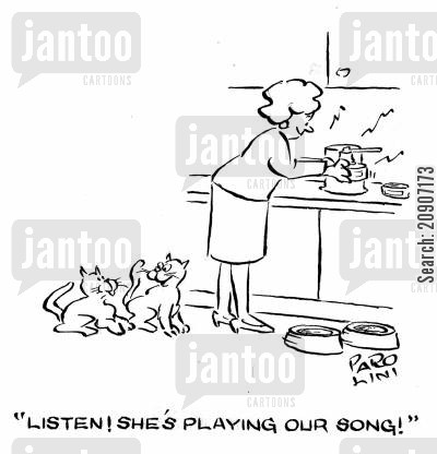 teatime cartoon humor: 'Listen! She's playing our song!'