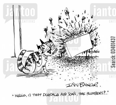 plumbing emergencies cartoon humor: 'Hello, is that Dugdame and Son's, the plumber?'