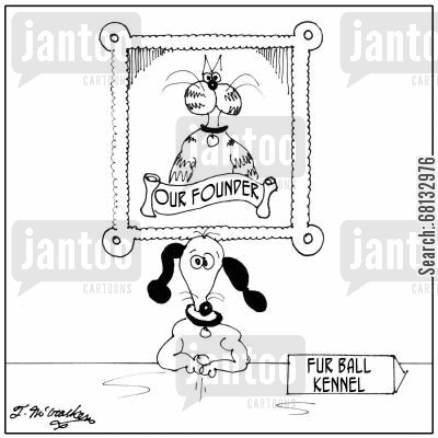 animal welfare cartoon humor: A kennel run by a dog has a portrait of ' Our Founder.'