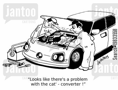 car service cartoon humor: 'Looks like there's a problem with the cat' converter!'