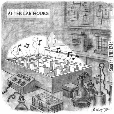 party time cartoon humor: After lab hours - party time.