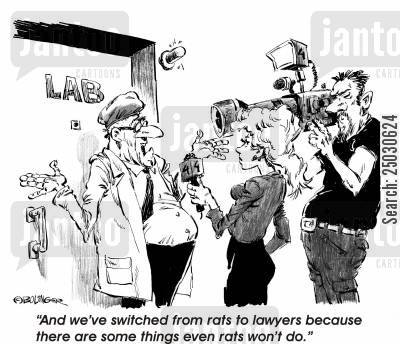 plague cartoon humor: 'And we've switched from rats to lawyers because there are some things even rats won't do.'