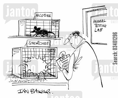 animal tests cartoon humor: Animal Testing Labs.