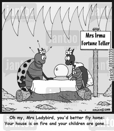 missing children cartoon humor: 'Oh my, Mrs Ladybird, you'd better fly home: Your house is on fire and your children are gone...'