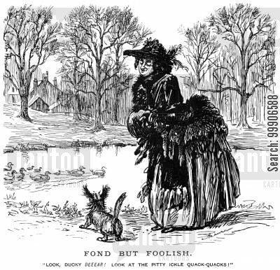 walkers cartoon humor: A lady walking her dog by a pond.