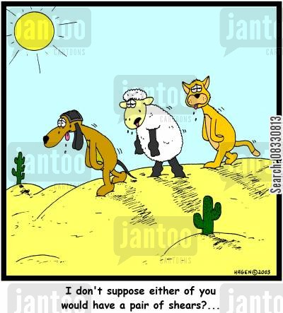 clipper cartoon humor: I don't suppose either of you would have a pair of shears?...
