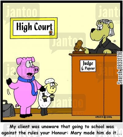 high court cartoon humor: 'My client was unaware that going to school was against the rules your Honour: Mary made him do it...'