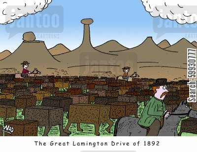 ranching cartoon humor: The Great Lamington Drive of 1892 - Lamingtons are being herded like cattle across the plains by cowboys... or lamingtonboys.