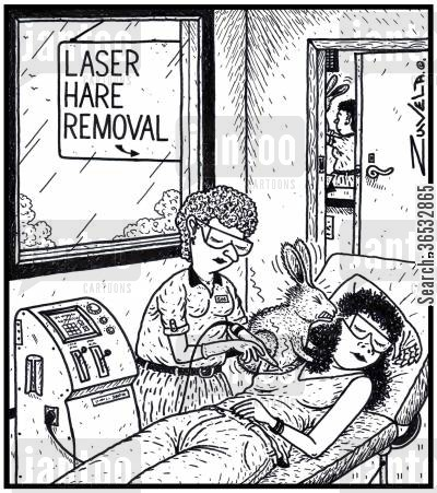 beauty salons cartoon humor: Laser Hare Removal a woman getting laser treatment for the removal of a hare from her armpit