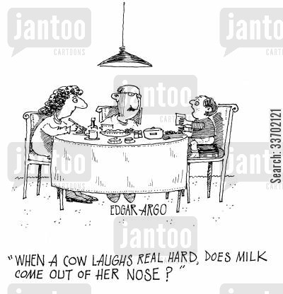 amusing cartoon humor: 'When a cow laughs real hard, does milk come out of her nose?'