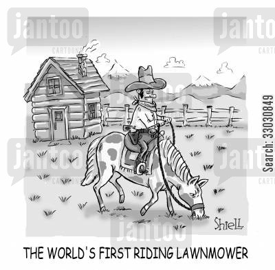 suburbs cartoon humor: 'The world's first riding lawnmower.'