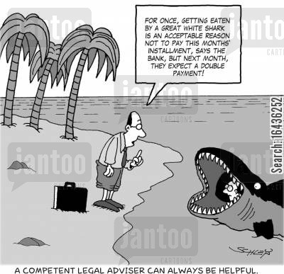 great white sharks cartoon humor: A competent legal adviser can always be helpful.
