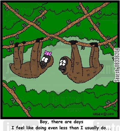 central america cartoon humor: 'Boy, there are days I feel like doing even less than I usually do...'