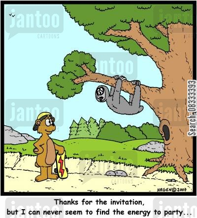 invitation cartoon humor: 'Thanks for the invitation, but I can never seem to find the energy to party...'