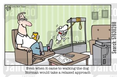 running machine cartoon humor: Even when it came to walking the dog Norman would take a relaxed approach.