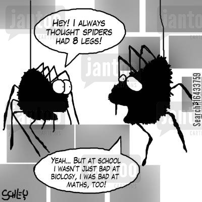 dunces cartoon humor: 'Hey! I always thought spiders had 8 legs!'