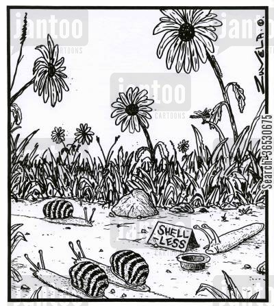 living rough cartoon humor: A snail 'Shell-less'.