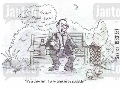 park benches cartoon humor: 'It's a dirty lie... I only drink to be sociable!'